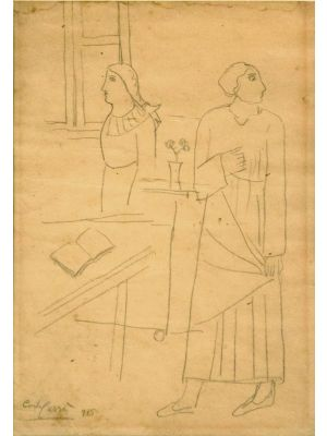 Figure in un interno by Carlo Carrà - Modern Artwork