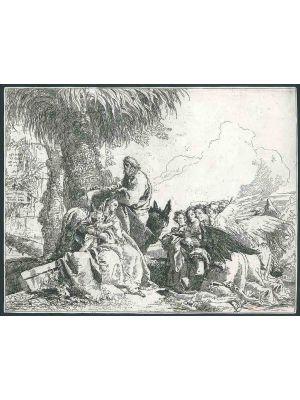 Riposo durante la Fuga in Egitto by Giandomenico Tiepolo - Old master