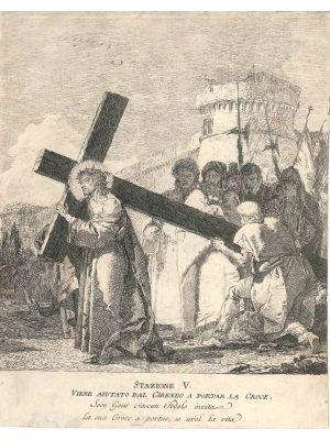 Stazione V. Viene aiutato dal Cireneo a portar la Croce, by Giandomenico Tiepolo - Old Master