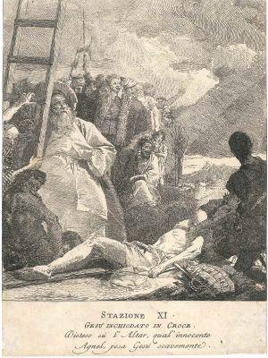 Stazione XI, Gesù inchiodato alla Croce by Giandomenico Tiepolo - Old Master