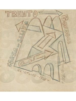 Trento-Bondone Corsa in salita by Fortunato Depero - Futurist Artwork