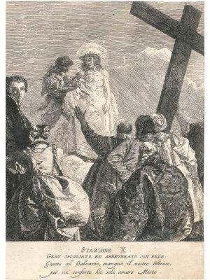 Stazione X, Gesù spogliato, ed abbeverato con fele by Giandomenico Tiepolo - Old Master