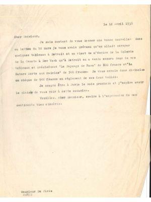 Letter to Filippo de Pisis