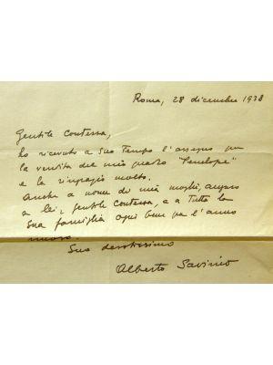 Letter from Alberto Savinio for Countess Pecci Blunt