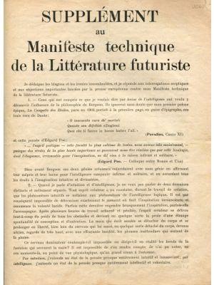 Supplément au Manifeste technique de la Littérature futuriste