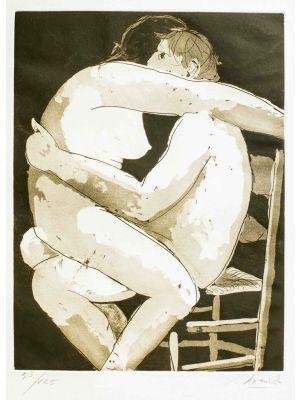 Giacomo Manzù, Lovers I, Artwork, Modern Art, Etching, Touchstone Suite, Italian Art