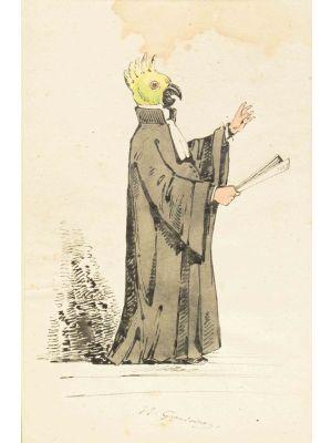 The Preacher by Jean Jacques Grandville - Modern Artwork