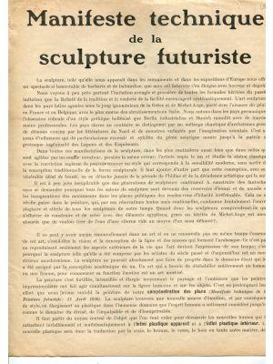 Manifeste Technique de la Sculpture Futuriste