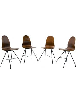 Four Vintage Wooden Chairs by Franco Campo, Carlo Graffi -  Design Furniture