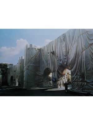 The Wall - Wrapped Roman Wall by Christo - Contemporary Artwork