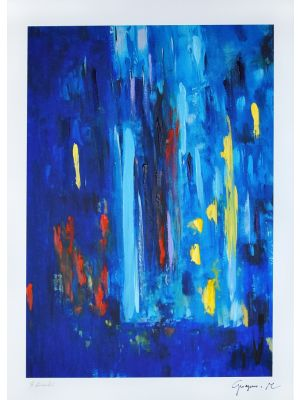 Blue Composition by Martine Goeyens - Contemporary Artwork