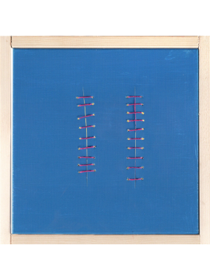 Red Seams on Blue by Mario Bigetti - Contemporary Artwork