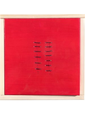 Seams on Red by Mario Bigetti - Contemporary Artwork
