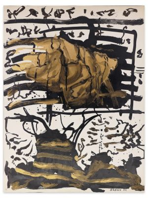 Abstract Gold Composition by James Jacques Brown - Contemporary Artowork