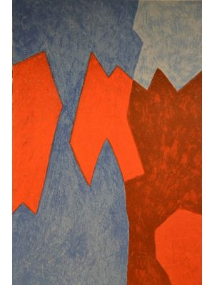 Blue And Red Composition by Serge Poliakoff - Contemporay Artwork