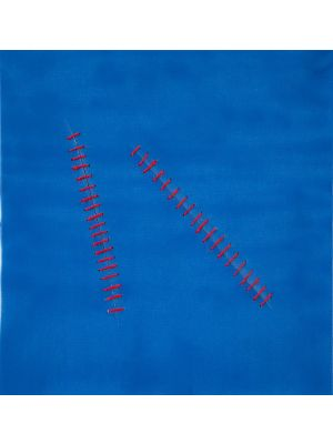 Oblique Seams on Blue by Mario Bigetti - Contemporary Artwork