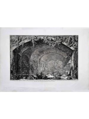 View of the Cave known as Bergantino  by Giovanni Battista Piranesi - Old Master Artwork