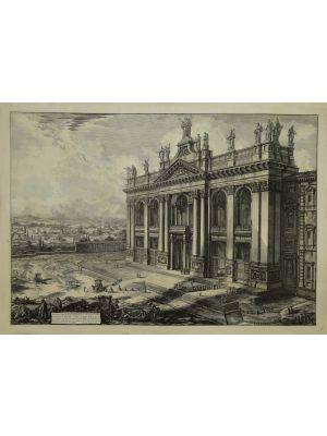 View of the Facade of the Basilica of San Giovanni Laterano by Giovanni Battista Piranesi - Old Master Artwork