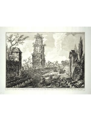 Ruins of an ancient tomb  by Giovanni Battista Piranesi - Old Master Artwork