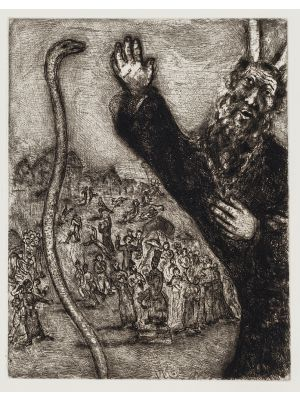 Moses and the Serpent by Marc Chagall - Modern Artwork