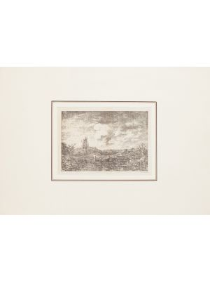 This splendid lithograph Landscape, 1880s,  is part of the series of prints dedicated to views of the Landscape, engraved by the Italian artist Antonio Fontanesi.
