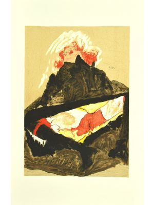 Red-Haired Girl with Spread Legs by Egon Schiele - Modern Artwork