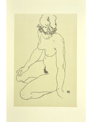 Kneeling Female Nude, Turning to the Right by Egon Schiele - Modern Artwork