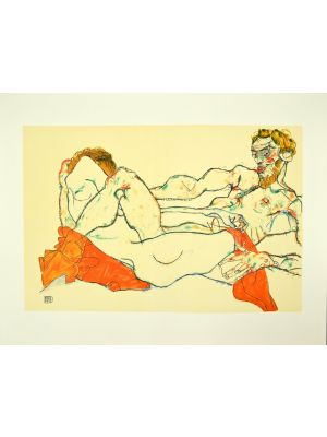 Reclining Male And Female Nude Entwined by Egon Schiele - Modern Artworks