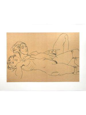 Two Reclining Nude Girls by Egon Schiele - Modern Artwork