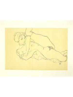 Reclining Nude, Left Leg Raised by Egon Schiele - Modern Artwork
