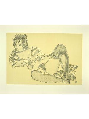 Reclining Woman by Egon Schiele - Modern Artwork