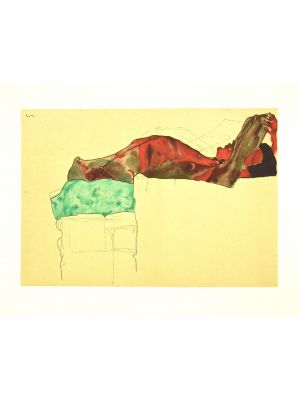Reclining Male Nude with Green Cloth by Egon Schiele - Modern Artwork