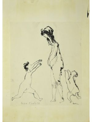 Figure is an original China Ink drawing on paper glued on cardboard, realized by Sergio Barletta in 1958.