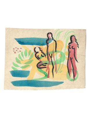 Three Female Nudes by Jean Raymond Delpech - Modern Artwork