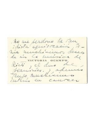 Victoria Ocampo's Business Card - Manuscript