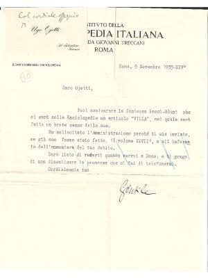 Ugo Ojetti - Enciclopedia Italiana - T.L.S. _ Manuscripts