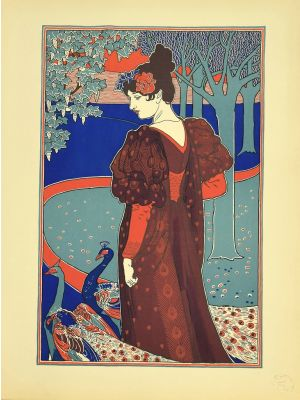Woman with Peacocks from L'Estampe Moderne by Louis Rhead - Modern Artwork