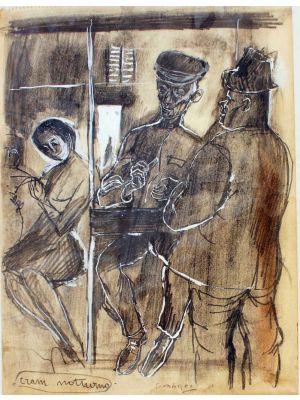 Night Tram by Nicola Simbari - Modern Artwork