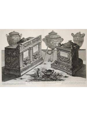 Vasi, candelabri, fine proof, Antiche urne cinerarie e lampade, etching and burin on paper, To Sid Francesco Dickins, handwritten ending note. Very good conditions, Signature on plate, Cavalier, Piranesi, Old masters,