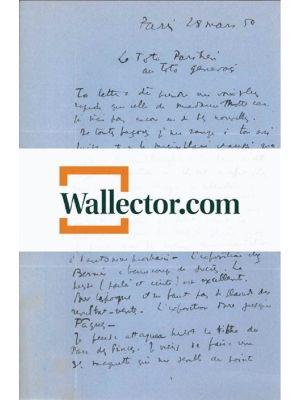 A. Masson, Autograph Letter Signed. Paris, 28th March 1950 - Front