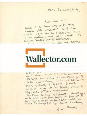 A. Masson, Autograph Letter Signed. Paris, 22 Nov.1949