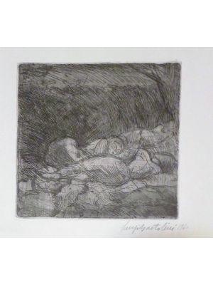 Artwork, Modern Art, Etching, Print, Luigi Bartolini, Figure di donne addormentate