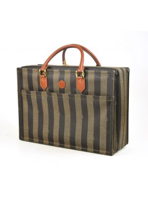 Suitcase Fendi Vintage Pecan vertical stripe canvas Travel