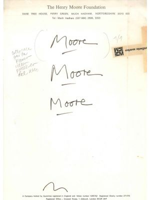 Henry Moore, Proofs of signature, Manuscripts, Contemporary Art, henry Moore Foundation, Marino Gallery,