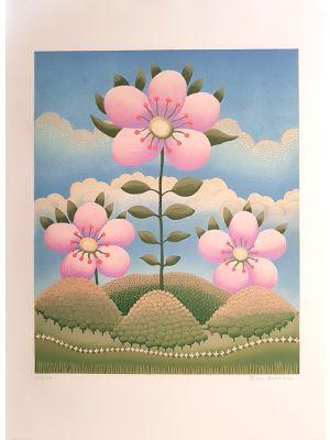 Contemporary art, Artwork, Print, Lithograph, Serigraph, Ivan Rabuzin, Fiore nel Paesaggio