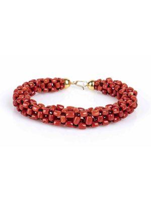 Woven Mesh Mediterranean Coral Bracelet