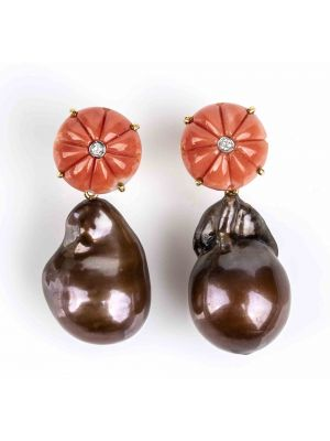 Gold, Cerasuolo Coral, Freshwater Pearls and Diamonds Earrings