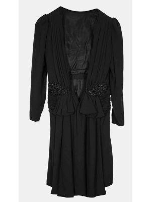 Elegant Black Tailored Woman Dress in Crêpe Satin