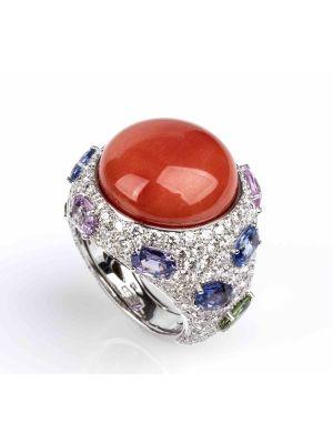 Gold, Cerasuolo Coral, Corundum and Diamonds Ring