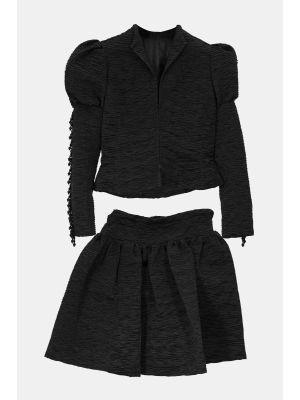 Elegant Vintage Black Tailored Woman Suit, Jacket & Skirt
